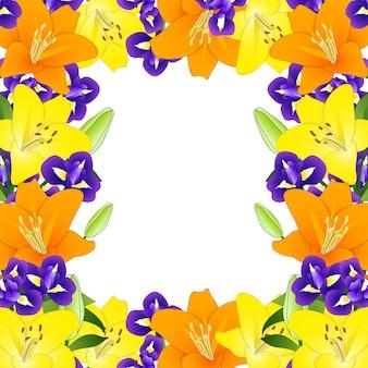 Желтая оранжевая лилия и голубая радужная окраска