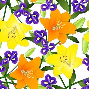 Желтый оранжевый лилия и голубой цветок радужки на белом фоне