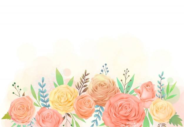 Yellow and orange rose flower watercolor illustration