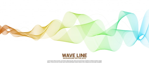 Yellow and orange sound wave line curve on white background.