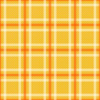 白い縞模様の黄色のオレンジ色のタータン