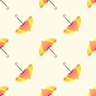 Yellow and orange umbrella seamless pattern on yellow background.