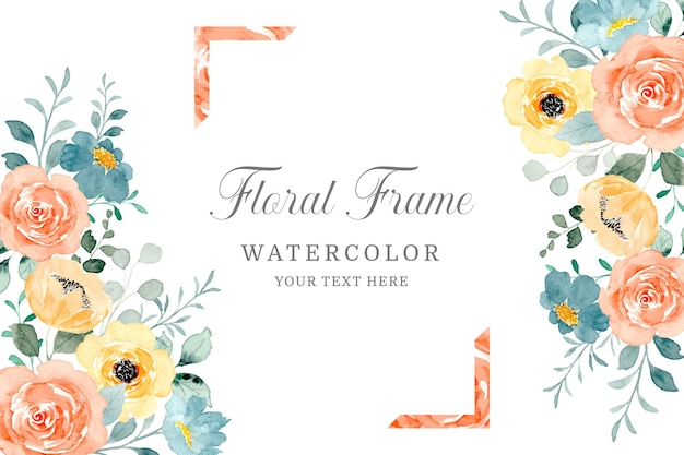Yellow orange watercolor floral frame background