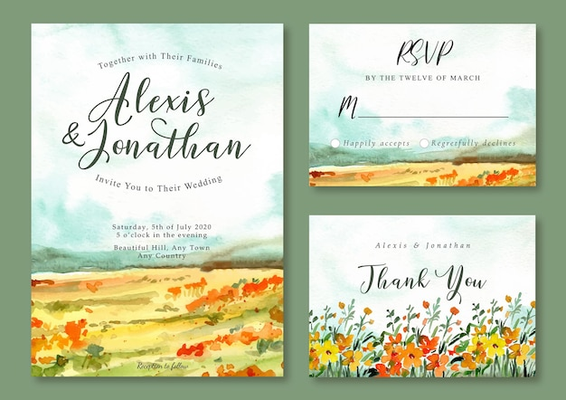 Yellow and orange watercolor floral landscape wedding invitation template