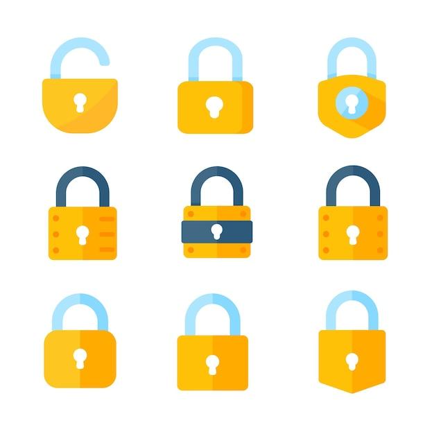 Желтый замок для блокировки информации о концепции шифрования компьютерных данных