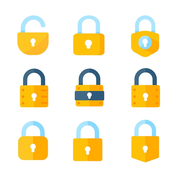 Yellow padlock for locking the information on the computer data encryption concept
