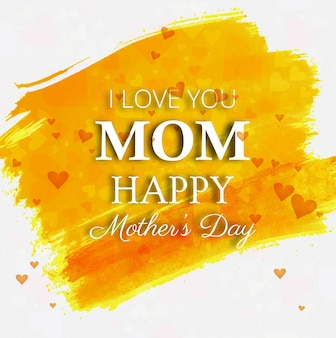 Yellow paint stokes mothers day background