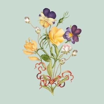 Mazzo di fiori gialli della viola del pensiero su sfondo verde