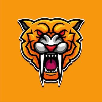 Yellow panther mascot character logo design illustration