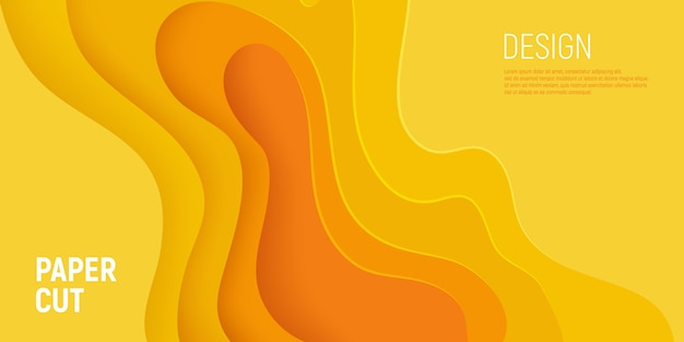 Yellow paper cut banner with 3d slime abstract background and yellow waves layers.