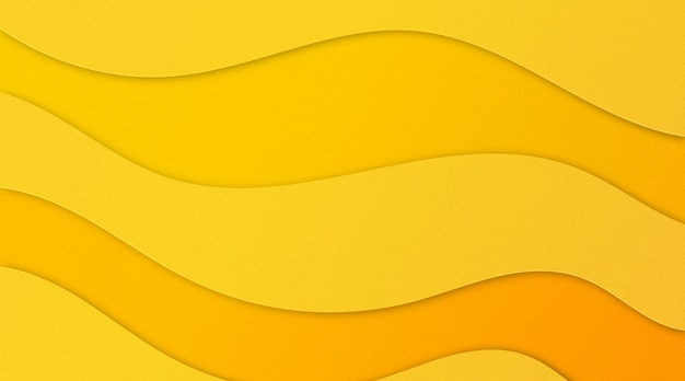 黄色い紙カット波状テクスチャ背景