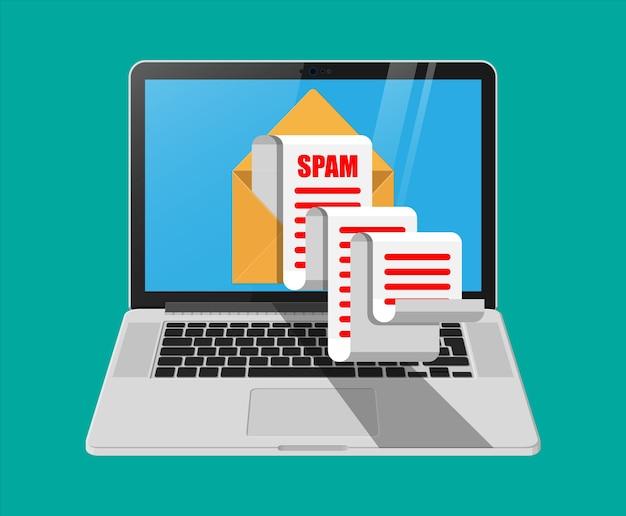 Желтый бумажный конверт и спам-почта на экране ноутбука. длинные электронные письма. взлом почтового ящика, предупреждение о спаме, вирусы и вредоносное по, сетевая безопасность.