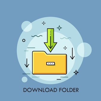 Yellow paper folder and green arrow pointing downwards. concept of file download, data storage.