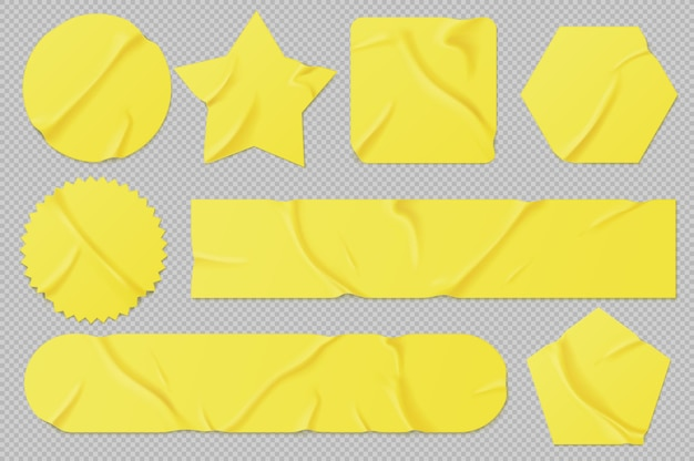 Yellow paper or pvc stickers adhesive patches and tapes