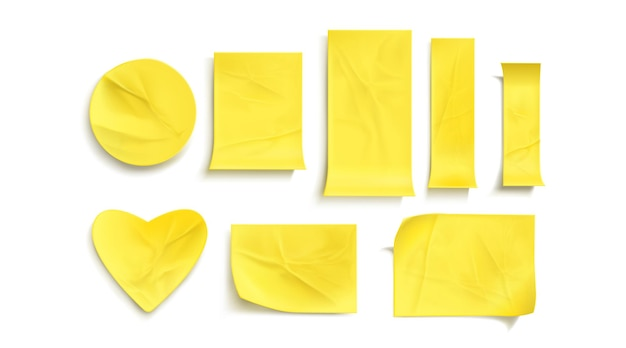 Yellow paper stickers set