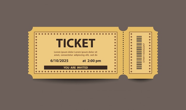 Yellow paper stub ticket