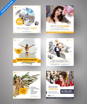 Yellow parallax wedding & multipurpose social media & web banners for digital marketing