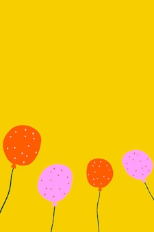 생일 테마의 노란색 파티 풍선 배경 벡터