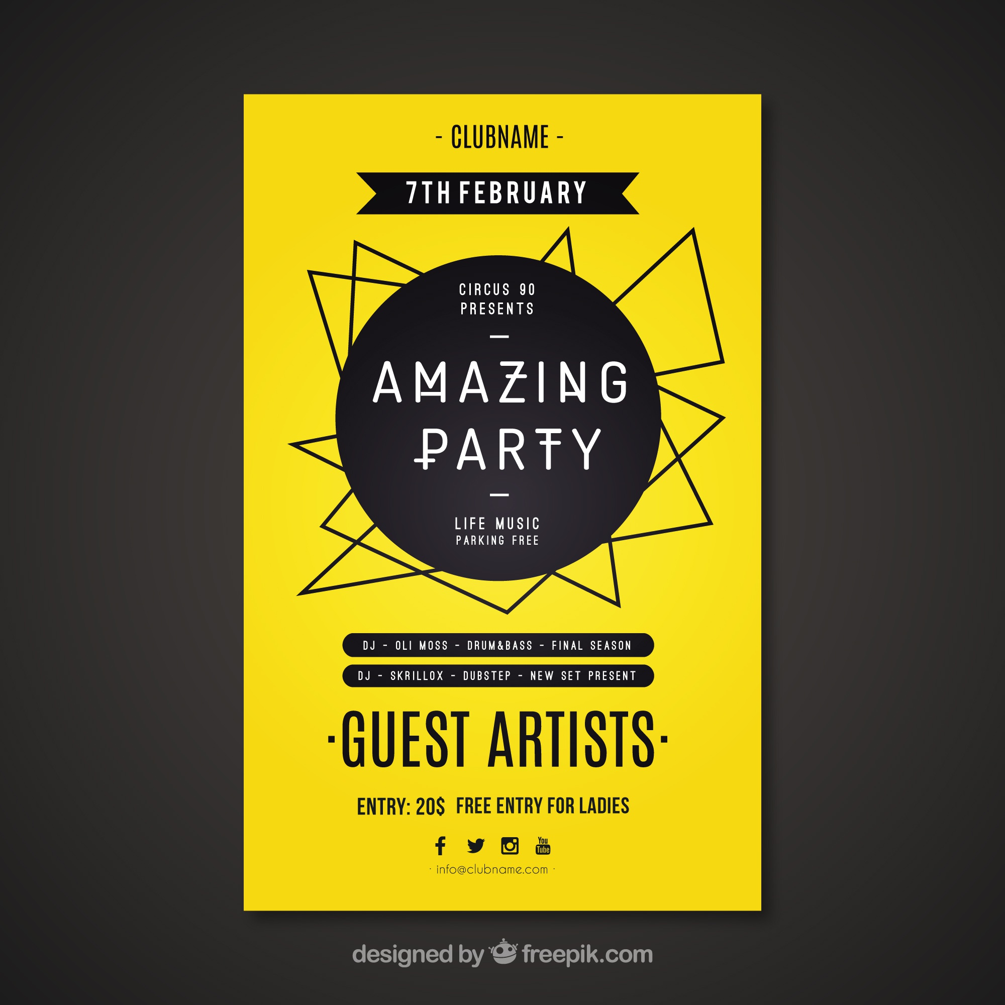 Yellow party poster