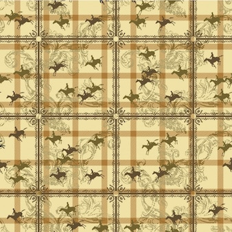 Yellow pattern with horses