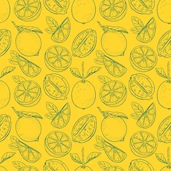 レモンのイラストと黄色のパターン