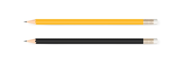 Желтый карандаш и черный карандаш.