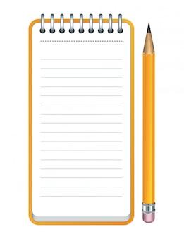 Желтый значок карандаша и блокнот.
