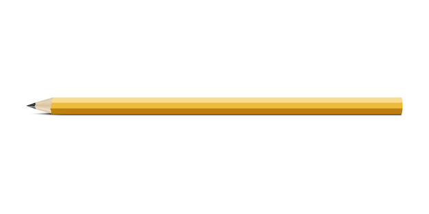 Yellow pencil isolated on white background realistic vector pencil