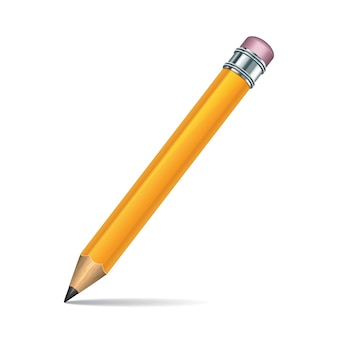 Yellow pencil  on white background.  illustration