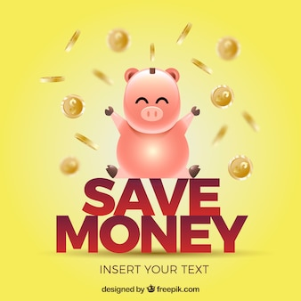 Yellow piggy with coins bank background