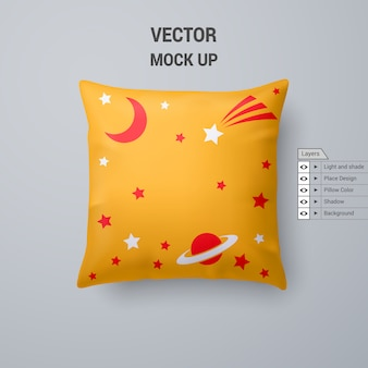 Yellow pillow with space pattern  on white background
