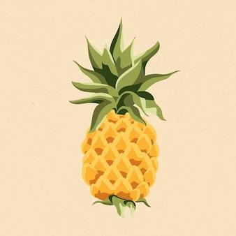 Yellow pineapple design element illustration