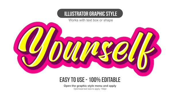 Yellow and pink 3d calligaphy editable text effect