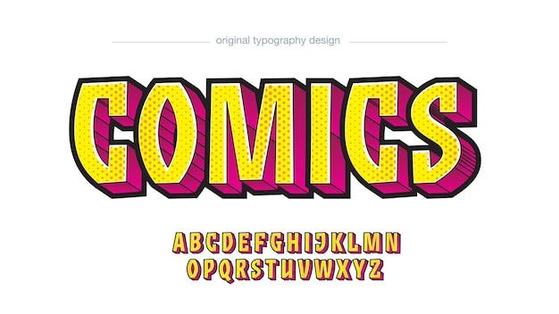 노란색 분홍색 3d 점선 만화 편집 가능한 텍스트 효과