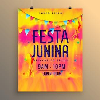 Yellow and pink festa junina poster