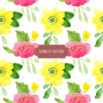 Yellow pink floral watercolor seamless pattern