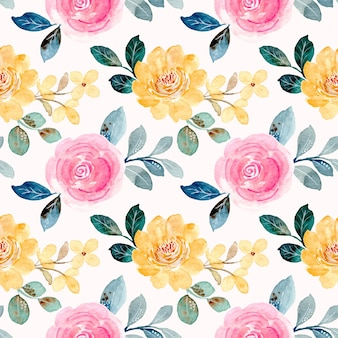 노란색 분홍색 꽃 수채화 원활한 패턴