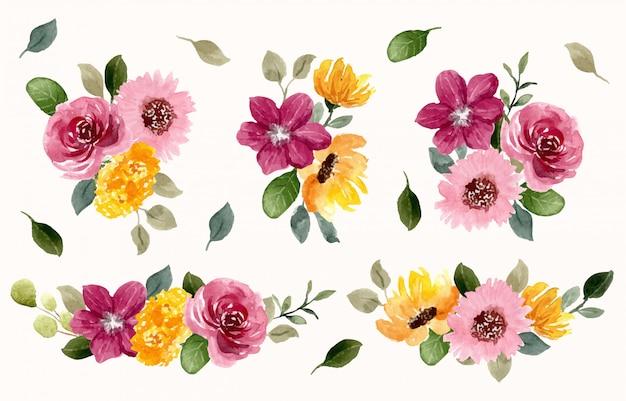 Желто-розовая цветочная композиция акварельная коллекция