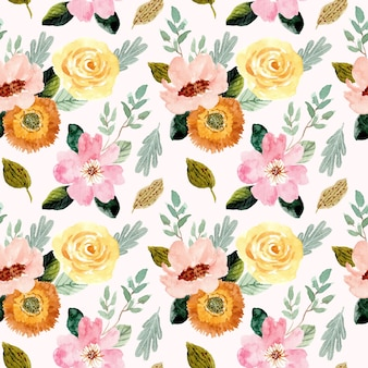 Yellow pink flower watercolor seamless pattern