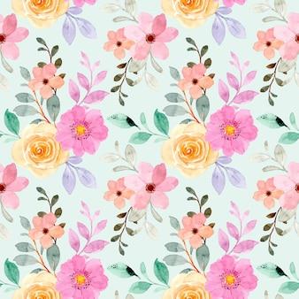 黄色のピンクの花の水彩画のシームレスなパターン