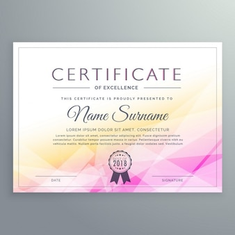Yellow and pink polygonal certificate