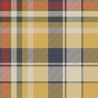 Yellow plaid check fabric texture seamless pattern