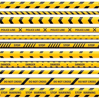 노란색 플라스틱주의 테이프 또는 경고 테이프 세트.