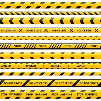 Yellow plastic caution tapes or warning tapes set.