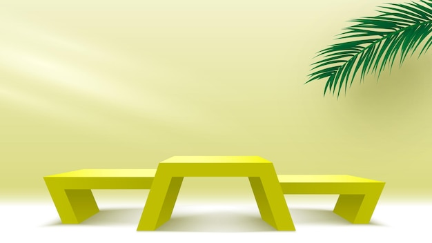 Yellow podium with palm leaves and light pedestal cosmetic products display platform