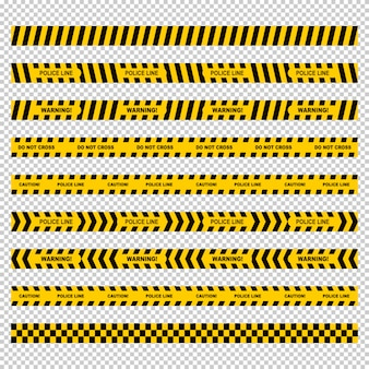 Yellow police line tape set