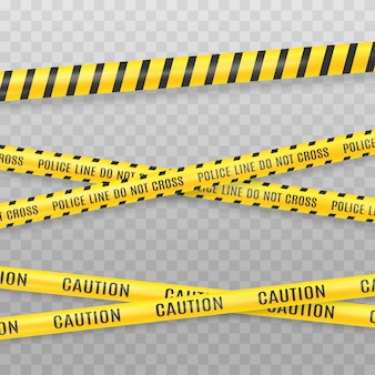 Yellow police tape isolated on transparent background. crime scene tape vector illustration