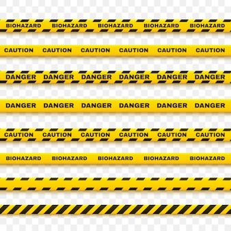 Yellow police tape warns of caution. artistic design of the crime scene line.