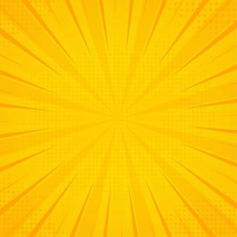 黄色のポップアートの背景。抽象的なレトロなテクスチャー。