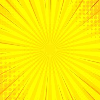 ブラストハーフトーンドットと黄色のポップアートコミックの背景。漫画コミック。図。